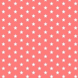 Katoen kleine sterren koraalrood (024)