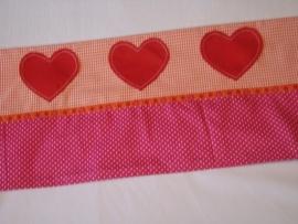(V) Lakentje ruitje/stipje fuchsia/oranje/rood 100 x 150 cm