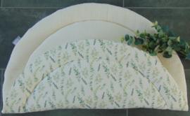 Boxkleed rond wafelkatoen/katoen eucalyptus off-white/groentinten