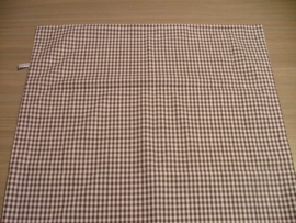 (V) Dekbedovertrek klein ruitje 60 x 80 cm donkergrijs-taupe