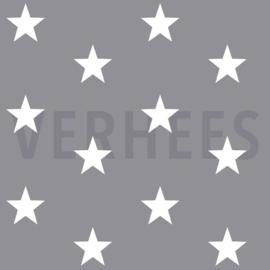 Katoen grote sterren grijs (013)