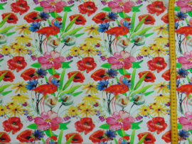French terry bloemen/flamingo's wit/multi