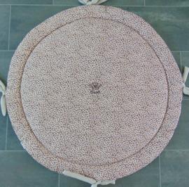 Boxkleed rond katoen panterprint bruintinten/wafelkatoen beige met striklinten en naam