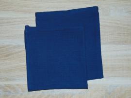 (V) Hydrofiel set monddoekje en washandje donkerblauw