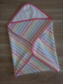 (V) Omslagdoek pop badstof pastel gestreept met roze