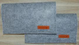 (V) Luiermapje vilt grijs gemeleerd