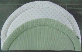 (V) Boxkleed rond wafelkatoen oud mint/poplin veertjes wit/zwart 95 cm