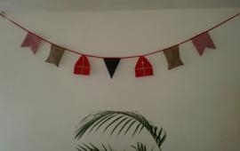 Stoffen slinger Sinterklaas rood/goud 3 meter