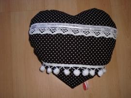 Kussen hart (klein) zwart-wit