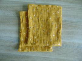 (V) Hydrofiele washandjes set van 2 stuks oker/goud