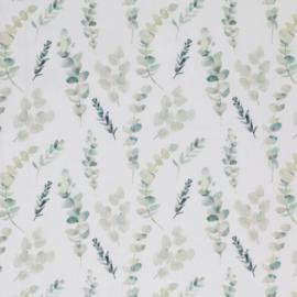 Katoen eucalyptus blaadjes off-white/groentinten