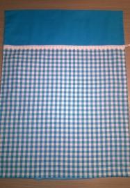 (V) Dekbedovertrek 60 x 80 cm ruit/uni/kantje turquoise