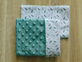 (V) Dekbedovertrekset 40 x 40 cm katoen veertjes wit/groen - fur niply oudgroen