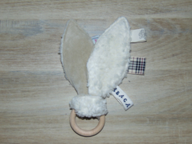 Houten ring konijnenoren/piepje nicky velours/teddy off-white