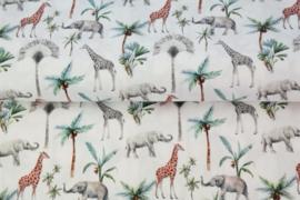 Katoen giraffen en olifanten wit/multi