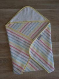 (V) Omslagdoek pop badstof pastel gestreept met zachtgeel