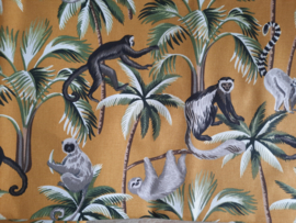 Canvas bomen/apen okergeel