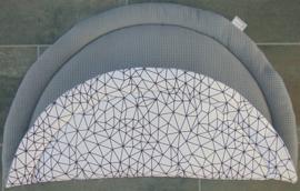 Boxkleed rond wafelkatoen/katoen abstract wit/zwart