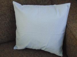 (V) Kussenhoes stipjeskatoen 40 x 40 cm lichtblauw
