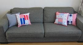 (V) Kussenhoesjes (set van 4) blauw/wit/rood 40 x 40 cm
