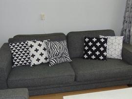 Kussenhoesje zwart/wit 50 x 50 cm