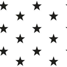 Katoen grote sterren wit/zwart (101)