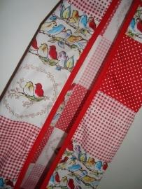 Luierzak patchwork vogeltjes wit/rood