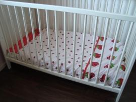 (V) Dekbedovertrek aarbei rood/wit 100 x 150 cm