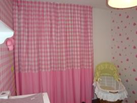 Gordijnen grote ruit/uni katoen roze