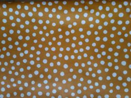Boxhoes geplastificeerd katoen stip okergeel/wit