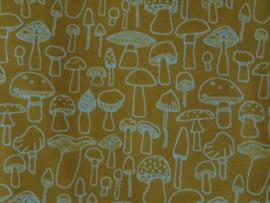 Geplastificeerd katoen paddenstoelen okergeel