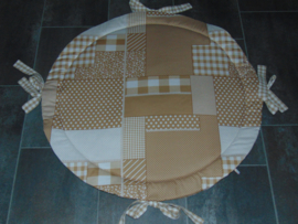 Boxkleed rond patchwork ruit/stip