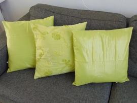 (V) Kussenhoesjes (set van 3) lime 50 x 50 cm