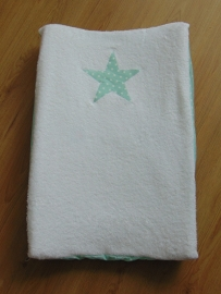 Aankleedkussenhoes wit met ster mint
