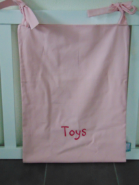 (V) Boxzak canvas geborduurd 'Toys' lichtroze/fuchsia