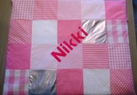 Boxkleed patchwork roze/wit/zilver