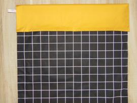 (V) Dekbedovertrek ruit/uni 60 x 80 cm zwart/wit/oker