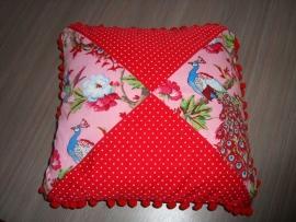 Kussenhoesje stippen en vogel wit/roze/fuchsia/rood 40 x 40 cm