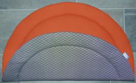 (V) Boxkleed rond wafelkatoen terra/katoen lelie zwart/wit 95 cm
