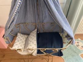 Poppenmatras, dekbed, kussen en overtrekset wit/mint/oudblauw