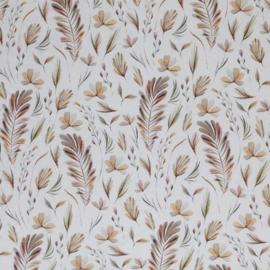 Poplin botanische veren off-white/bruintinten