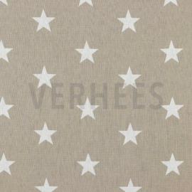 Katoen grote sterren beige (022)