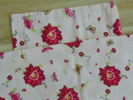 (V) Dekbedovertrekset 50 x 50 cm bloemen lichtroze/fuchsia