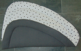 Boxkleed driehoek wafelkatoen/poplin nop off-white/zwart 100 cm