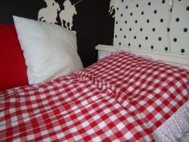 Dekbedovertrek ruit/bal/stip rood/wit 140 x 200 cm