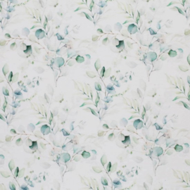 Tricot eucalyptus/boeket off-white/groentinten