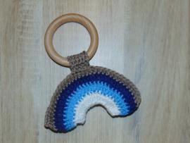 (V) Houten ring met regenboog blauw