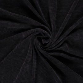 Rib velours zwart (069)