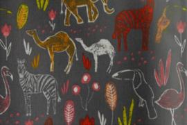 Geplastificeerd katoen safari grijs