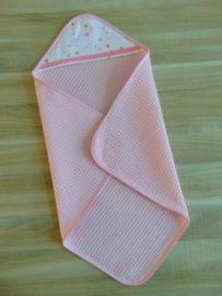 (V)Poppenomslagdoek wafelkatoen roze